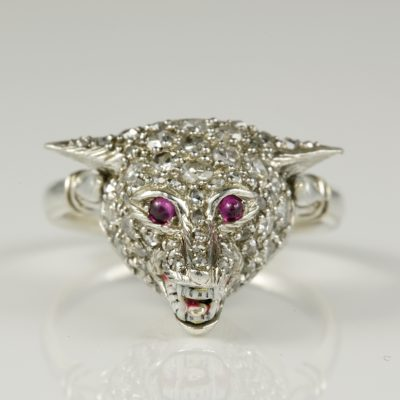 English Edwardian Diamond Ruby Wild Wolf Rare Platinum Ring