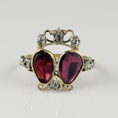 Boxed Georgian Crowned Double Heart Garnet and Diamond Rare Ring