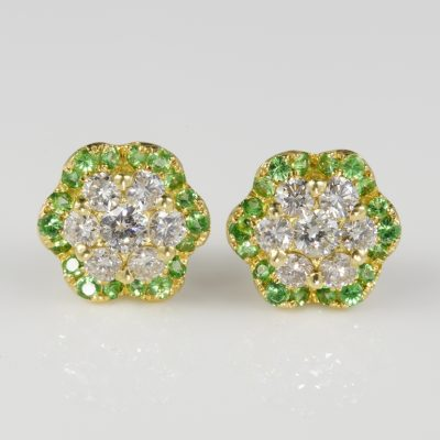 Exceptional Quality 1.08 Ct Diamond Demantoid Garnet Stud Earrings