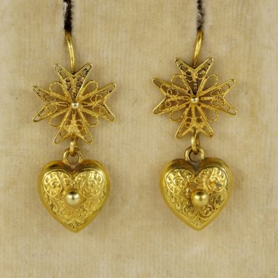 Georgian Maltese Cross and Heart 18 KT Gold Ear Drops 1800 ca