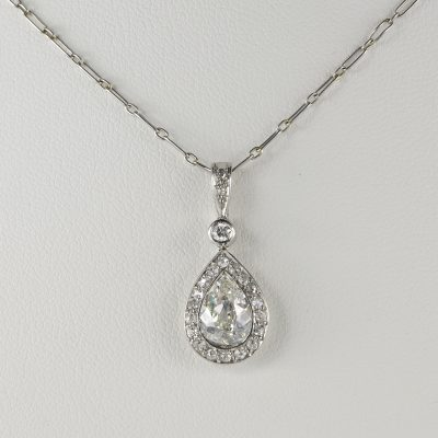 French Edwardian 1.20 Ct Old Mine Diamond Solitaire Plus Platinum Necklace