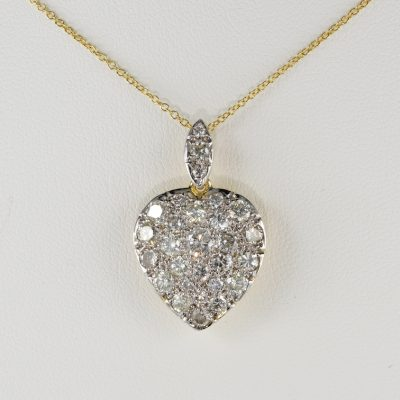 Superb 2.0 Ct Diamond Vintage Heart Necklace Pendant Plus Chain