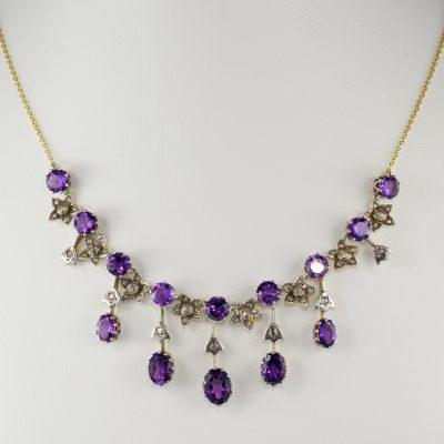 Exquisite Victorian Siberian Amethyst Diamond Rare Necklace