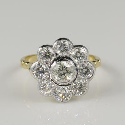 Spectacular Art Deco 2.25 Ct Diamond Cluster Ring Platinum 18Kt