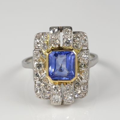 Rare Art Deco 1.60 Ct Natural No Heat Ceylon Sapphire Diamond Panel Ring