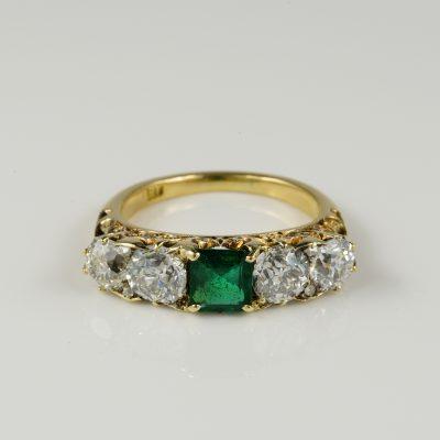 Magnificent Victorian Colombian Emerald Diamond Rare Five Stone Ring