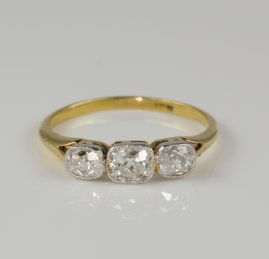 Late Victorian Stunning 1.0 Carat Three Stone Diamond ring