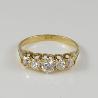 Spectacular Victorian 1.20 Ct Diamond Five Stone ring
