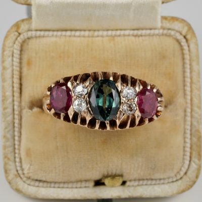 Victorian Natural Sapphire Ruby diamond Three Stone Ring