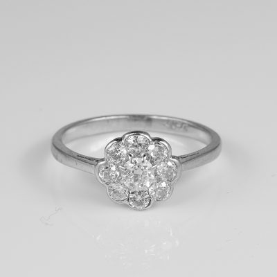 Antique Edwardian .90 Ct Diamond Platinum Daisy ring