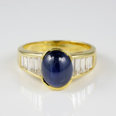 Mid century 3.80 Ct Natural Untreated Sapphire 1.0 Ct G IF Diamond ring
