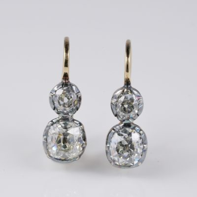 Victorian Magnificent 2.85 Ct Cushion Mine Cut Double Solitaire Earrings 1890 ca