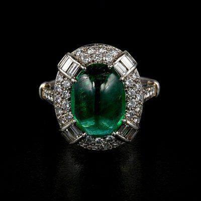 Spectacular Art Deco 5.0 Ct Colombian Emerald 1.60 Ct Diamond Platinum Ring