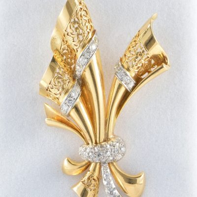 Large Retro Bow Brooch, circa 1940