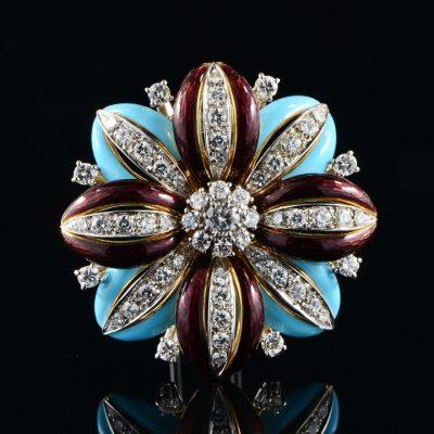 Diamond and Enamels Flower Brooch, circa 1950