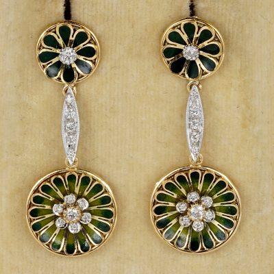 Edwardian Diamond Green Enamel Daisy Drop Earrings