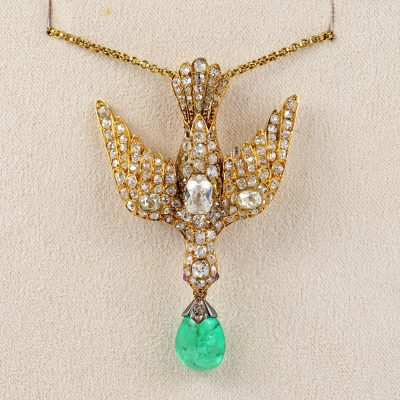 Rare Early Victorian 4.35 Ct Colombian Emerald 4.0 Ct Diamond Dove Saint Esprit Pendant