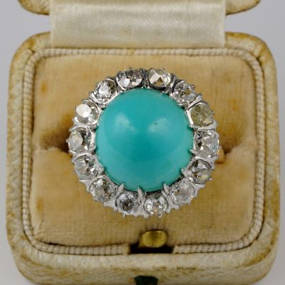 Rare Edwardian Parsian Turquoise 2.80 Ct old Diamond  Platinum Gold Ring