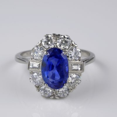 Art Deco Magnificent 5.95 Ct Certified No Heat Ceylon Sapphire 2.0 Ct Diamond Plat. Ring