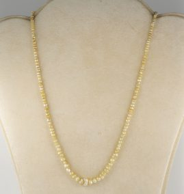 Georgian Era Single Strand Natural Basra pearl Necklace with 15 KT Clasp
