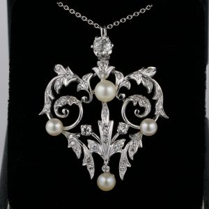 Art Nouveau 1.80 Ct. Diamond Natural Pearl Pendant 1910 ca