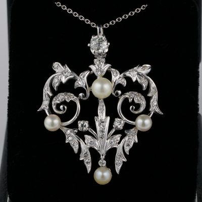 Art Nouveau 1.80 Ct. Diamond Natural Pearl Pendant 1910 ca