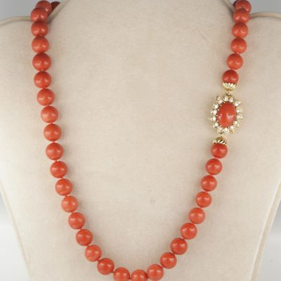 Magnificent Natural Red Salmon Necklace Flower Diamond Clasp