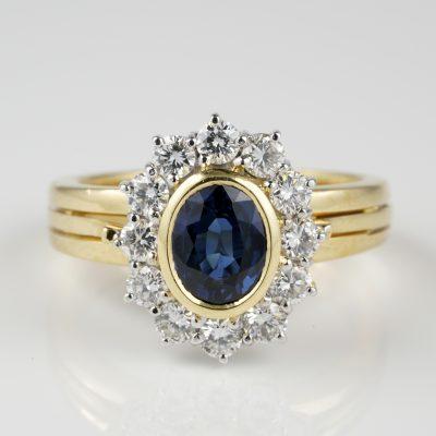 Fine Vintage 1.20 Natural Sapphire 1.0 G VVS Diamond Cluster ring