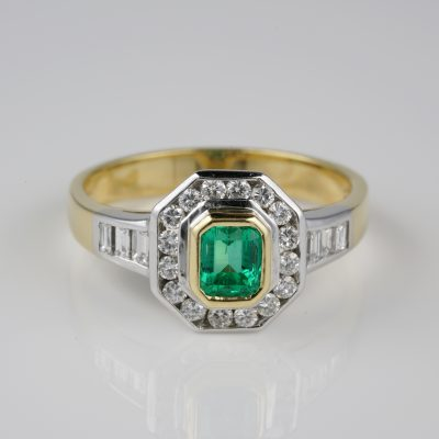 Gorgeous .65 CT Colombian Emerald  1.10 Ct GVVS Diamond Engagement Ring