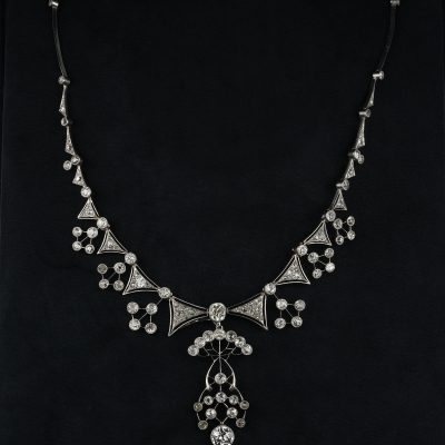 Edwardian 13.95 Ct Diamond Platinum Rare Statement Necklace