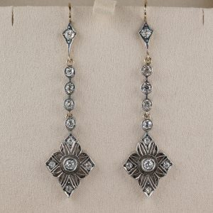 Amazing Art Nouveau 2.90 Ct Diamond Long Drop Earrings 1900 ca!