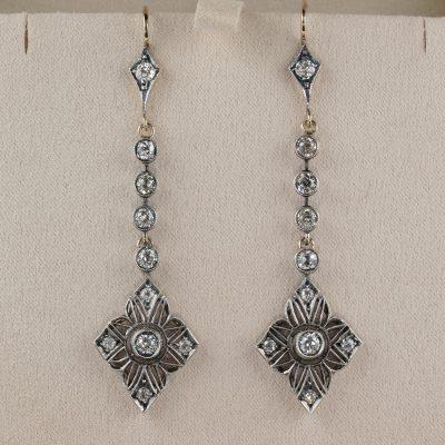 Amazing Art Nouveau 2.90 Ct Diamond Long Drop Earrings 1900 ca!