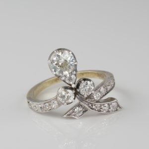 Authentic Art Nouveau 1.50 Ct Diamond Old Cut Sensual Ring