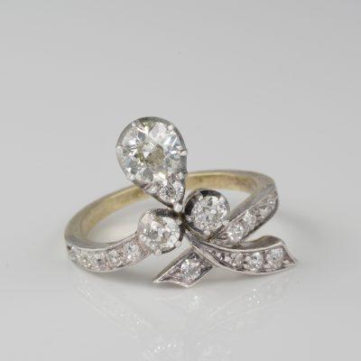Authentic Art Nouveau 1.50 Ct Diamond Old Cut Sensual Ring