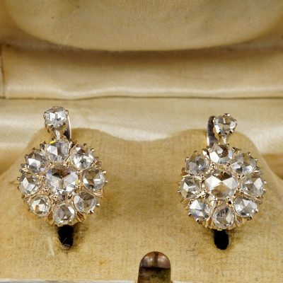 Magnificent Victorian 3.20 Ct Rose Cut Diamond Rare Cluster Earrings