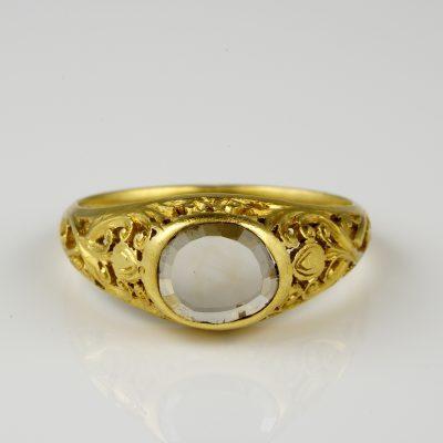 Regency Rare Flat Table Cut Diamond Unisex 19 Kt Gold Stunning Ring