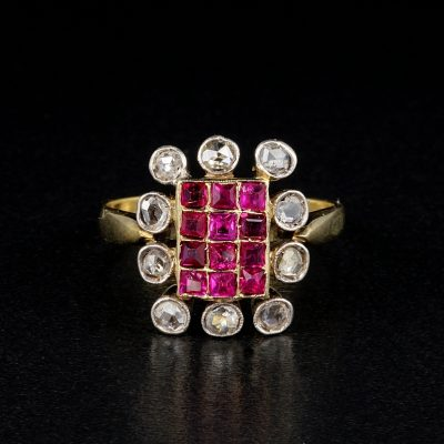 Sweet Victorian Natural Ruby Diamond ring