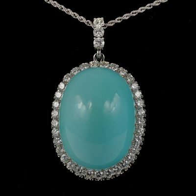 Magnificent 86.00 Carat Natural Persian Turquoise 3.00 Carat Diamond Rare Pendant