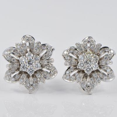 2.35 Carat Diamond Beautiful Vintage Flower Earrings