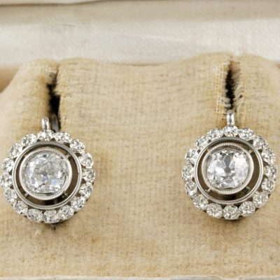 Stunning Edwardian 1.55 Ct Diamond Rare Floret Lobe Earrings 1905 ca