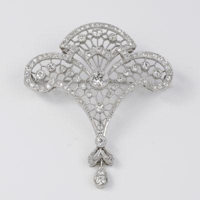 Stunning Belle Epoque 2.95 Ct Diamond Rare Platinum Lavaliere Brooch Pendant