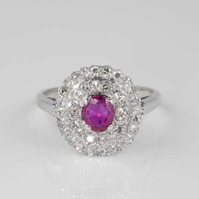 Beautiful mid Century natural Ruby and diamond cluster ring