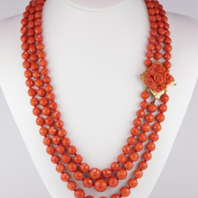 Magnificent Victorian Triple Strand Natural Mediterranean Coral Necklace
