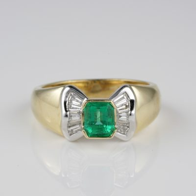 Vintage .85 Ct Colombian Emerald . 60 Ct G VVS Diamond Sheer Quality Ring