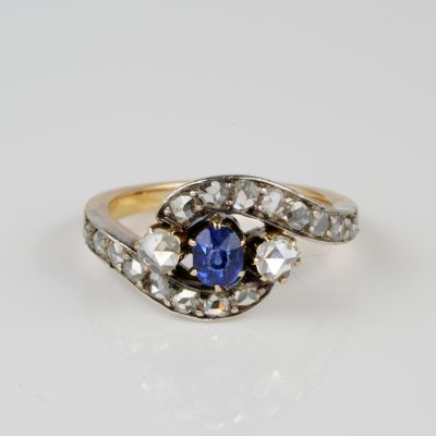 Victorian natural blue sapphire and rose cut diamond crossover ring