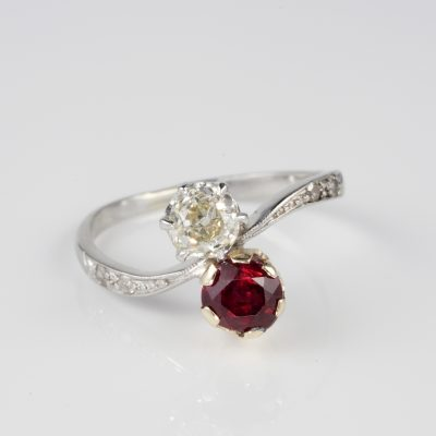 Edwardian natural ruby and old mine cut Diamond ring