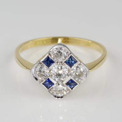 Charming Edwardian .85 Ct Old Mine Diamond .35 Ct Natural Sapphire Ring