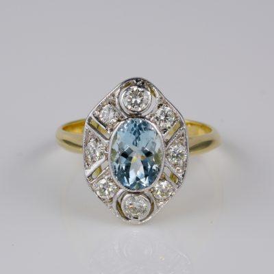 Gorgeous Art Deco  1.30 Ct Natural Aquamarine .60 Ct Diamond Ballerina Ring