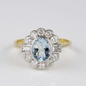 Spectacular Art Deco Aquamarine Diamond Classy Cluster ring