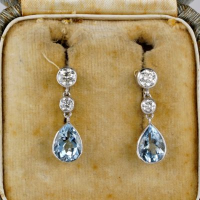 Spectacular Edwardian 2.20 Ct Natural Aquamarine .60 Ct Diamond Platinum Drop Earrings